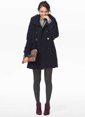 可愛い紺ダウンコート+グレータイツの冬コーデ