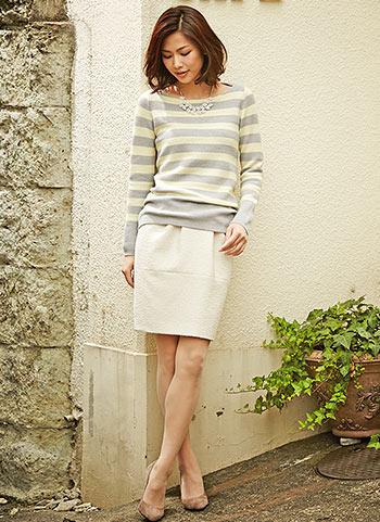 ボーダープルオーバー+白スカートの大人コーデ【30代】