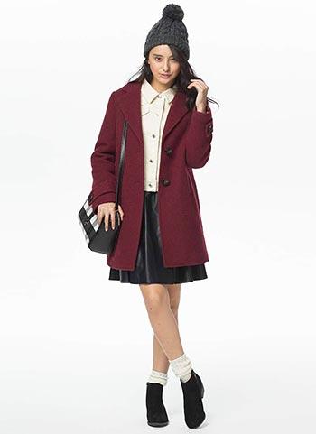 ボルドーチェスターコート+レザースカートの甘辛コーデ【10代】