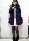 紺コート+白チュールスカートの清楚系コーデ【10代】