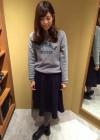 ロゴスウェット+紺ミディスカートのガーリーコーデ【秋】