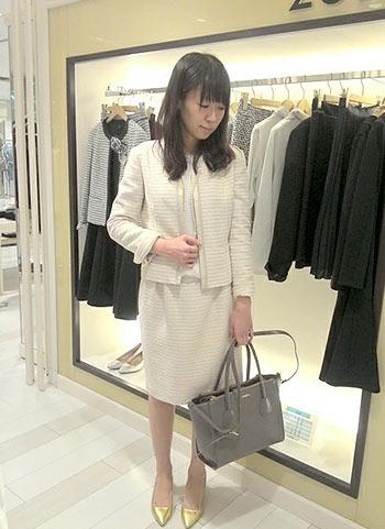 【入園式・入学式】白ツイードスーツのセレモニーコーデ