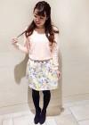 【女子会・デート】ピンクニット+花柄スカートのガーリーコーデ