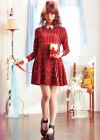 【女子高校生に◎】襟付き赤チェックワンピースのガーリーコーデ