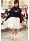 紺タートルネック+白チュールスカートの清楚系フェミニンコーデ