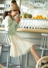 ミントニット+白ギャザースカートの春フェミニンコーデ