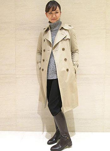ロングトレンチコート+ロングブーツの上品な着こなし【40代】