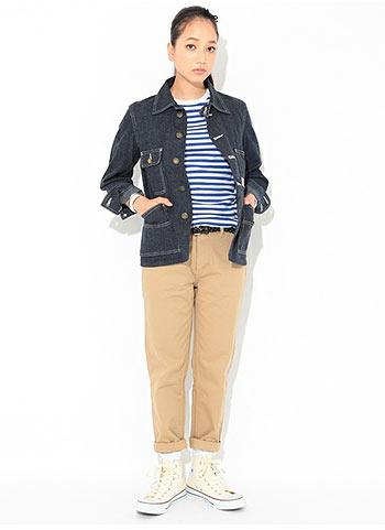 デニムジャケット+チノパン+ボーダーTシャツのコーデ【女性】