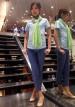 青ブラウス+紺パンツで夏オフィスカジュアルコーデ【クールビズ】